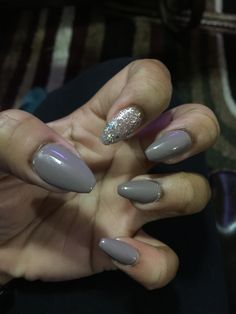 Greyish brown tone color polish and a clear glitter polish . Diy Rhinestone Nails, Coffin, Halloween Ideas, Nail Ideas, Acrylic Nails, Polish, Glitter, Shapes, Brown