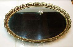 VTG Oval ORMOLU Vanity Tray Victorian Gold Filigree Mirror Holywood Regency Dresser Vanity, Vanity Plate, Vanity Tray, Vanity Set, Hollywood Regency, Vintage Hollywood, Art Of Glass, Victorian Gold, Gold Filigree