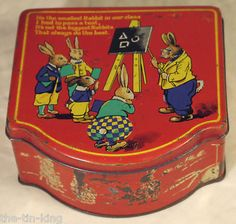 Super Rabbits at School Teacher Blackboard Class Students Sweet Tin c1930s 1950s | eBay
