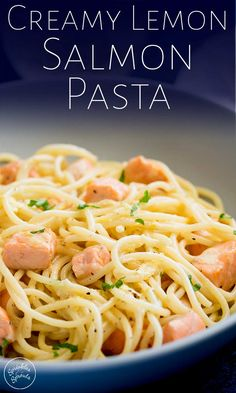 This Creamy Lemon Salmon Pasta is comforting and filling whilst still being fres.Most Delicious Pasta Recipes! Leftover Salmon Recipes, Canned Salmon Recipes, Yummy Pasta Recipes, Fish Recipes, Seafood Recipes, Vegetarian Recipes, Cooking Recipes, Light Pasta Recipes, Noodle Recipes