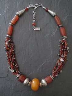 Antique Carnelian and African Amber and Silver by GEMILAJewels