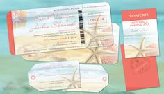 Destination Wedding Package featuring boarding pass invitation set w/reply luggage tags and if required, passport style itinerary for guests to know what happens-when during the wedding week.