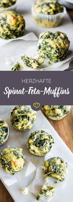 Make your muffins hearty: With feta and spinach beat this fast, w .- Mach deine Muffins mal herzhaft: Mit Feta und Spinat schlagen diese schnellen, w… Make your muffins hearty with feta and spinach … - Spinach And Feta Muffins, Spinach Balls, Low Carb Cupcakes, Vegan Cupcakes, Healthy Snacks, Healthy Recipes, Snacks Recipes, Vegan Snacks, Feta