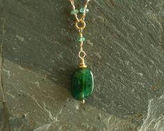 Columbian Emerald Necklace genuine organic rare by bluegreenjewels  https://www.etsy.com/shop/bluegreenjewels
