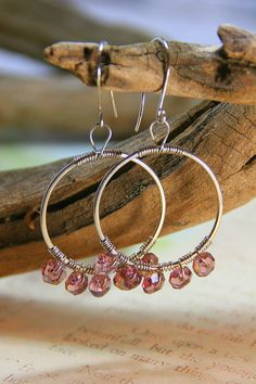 Hammered Silver Hoops with Wire Wrapped by AllowingArtDesigns, $22.00