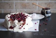 red | fresh cherry & pomegranate jam pavlova & rosewater turkish delight
