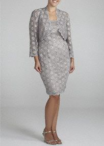 Lovely and exquisitely designed, you will not go unnoticed in this gorgeous lace jacket dress!  Sleeveless bodice features ultra feminine and stunning sequin and floral lace detailing.  3/4 sleeve matching lace jacket provides just the right amount of coverage.  Fully lined. Back zip. Imported poly/spandex/nylon blend. Hand wash.