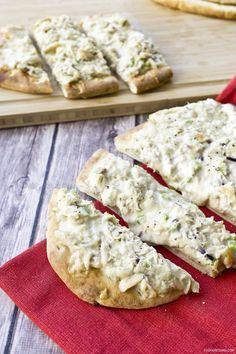 Cheesy Tuna Melt Naan Pizza