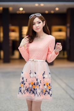 Korean Fashion Organza Lace Pink Dress (With Belt)
