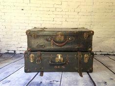 Vintage 1940s Luggage Stack Black Leather by WyrembelskisVintage, $110.00