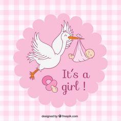 Tarjeta de Baby Shower de cuadros rosas Vector Gratis
