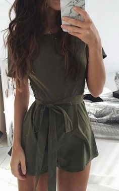 #summer #outfits / olive green playsuit