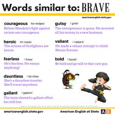 """It's time for #AmericanEnglish Synonym Sunday! Check out our graphic for synonyms of the word """"brave."""" All of these words are adjectives and similar in meaning to """"brave"""": courageous, heroic, fearless, dauntless, gallant, gutsy, bold & valiant. Are you brave?"""