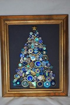 Vintage Jewelry Crafts Vintage Jewelry Rhinestone Framed Christmas Tree New Blue - Christmas Tree Pictures, Christmas Tree Art, How To Make Christmas Tree, Christmas Jewelry, Jewelry Tree, Old Jewelry, Gothic Jewelry, Luxury Jewelry, Jewelry Ideas