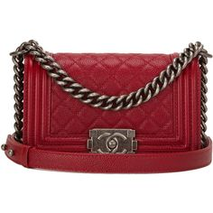 Pre-Owned Chanel Dark Red Quilted Caviar Small Boy Bag found on Polyvore featuring polyvore, women's fashion, bags, red, real leather bags, preowned bags, red quilted bag, red leather bag and chanel