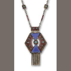 An enamel, blue chalcedony, and turquoise pendant necklace, Theodor Fahrner, circa 1927