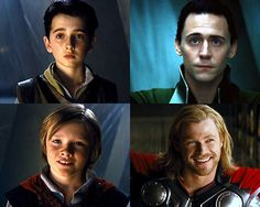 """""""We were raised together...""""  kinda scary how convincing that young Loki is...same eyebrows, same eyes, same sad look in his eyes"""