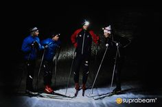 Professional ski runners using their Suprabeam rechargeable headlamps for optimal lighting. Outdoor Pictures, Runners, Ski, Lighting, Hallways, Skiing, Joggers, Lightning, Runner Rugs