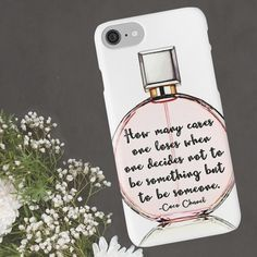 Coco Chanel quote on watercolor illustration of a blush pink Chanel Chance bottle.  iPhone and Samsung phone cases.