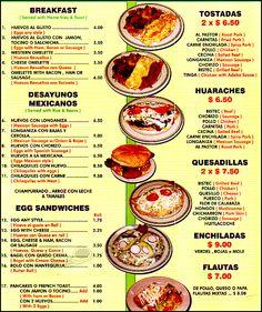 Menu de restaurante mexicano - Imagui