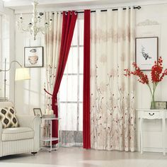 [byetee] Living Room Red Curtain Bedroom Curtain Garden Warm Cotton  Finished Fabrics Linen Curtains
