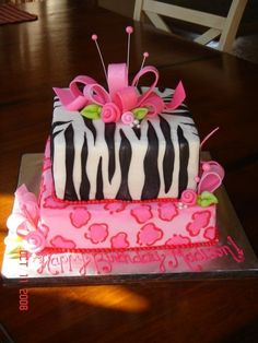 girly animal print birthday cake - Pink leopard print and zebra print cake made for 11 year old birthday girl.