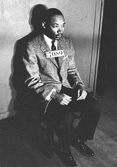 Dr. King following his arrest for participation in the Montgomery Bus Boycott, 1956.