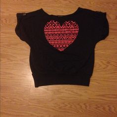 Super cute top ! This is a super cute top with buttons on shoulder and a front pouch ! This has been used but still I great condition !the heart is like a pink orange color top is dark grey! Miss Chevous Tops