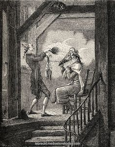 The Toilette, after Carle Vernet.  Servant helps his master, powdering his wig