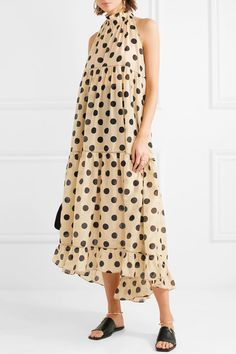 Minnie polka-dot silk and cotton-blend halterneck dress