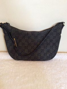 GUCCI DARK GREY   BLACK MONOGRAM CANVAS   LEATHER BAG -£50 Whispers Dress  Agency 39491146a62b8