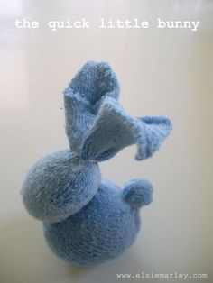 Bunny from a baby sock!  Great use that odd sock that loses its mate in the washer/dryer.