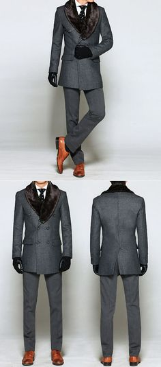 Outerwear :: Uber-sleek Rabbit Fur Double Tweed-Coat 29 - Mens Fashion Clothing For An Attractive Guy Look