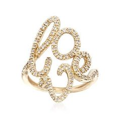 Ross-Simons - .25 ct. t.w. Diamond Script Love Ring in 14kt Yellow Gold - #839994