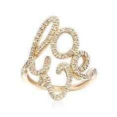 Ross-Simons - .25 ct. t.w. Diamond Script Love Ring in 14kt Yellow Gold - #839994