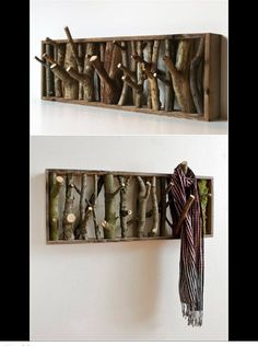 Logs and Stumps DIY Ideas Projects & Furniture Instructions Less waste. DIY Tree Branch Coat Rack Instructions - Raw Wood Logs and Stumps DIY Ideas ProjectsLess waste. DIY Tree Branch Coat Rack Instructions - Raw Wood Logs and Stumps DIY Ideas Projects Log Decor, Diy Home Decor, Rustic Decor, Wood Home Decor, Wood Stick Decor, Rustic Theme, Rustic Chic, Deco Nature, Nature Decor