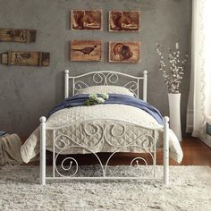 Twin Platform Bed Frame Metal White Headboard Footboard Kids Teen Guest Room #TopShelfBedz #ModernShabbyChic