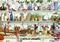 potting shed shelves painting by tracy hall