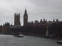 London by water: Big Ben & Parliament from the Thames.