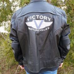 Victory Motorcycle Leather Jacket Coat Size XXL 2XL Men's Zip Liner Embroidered #Victory #Motorcycle