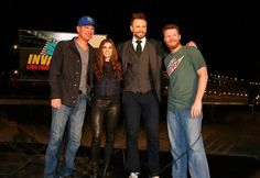 "Clint Bowyer, Danica, Joel McHale, and Dale Jr prior to ""The Soup"" airing live from Talladega, 10/24/15"