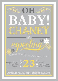 Oh Baby Shower Invitataion 4x6 or 5x7 digital you by DigitalParty, $9.00