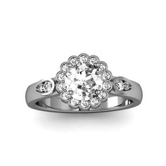 10K White Gold Flower Halo Design Engagement Ring by WorldJewels