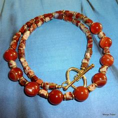 Banded Agate Necklace Crazy Lace Agate Necklace Red by MangoTease