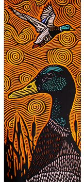 LISA BRAWN WOODCUT Ducks