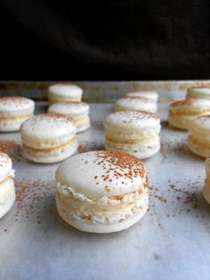 tiramisu macarons are espresso kissed with a whipped mascarpone cream filling