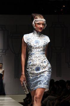 blue shanghai dress by Sebastian Gunawan