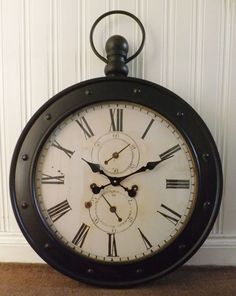 Large Shabby Chic Vintage White & Black Metal Fob / Pocket Watch Tin Wall Clock