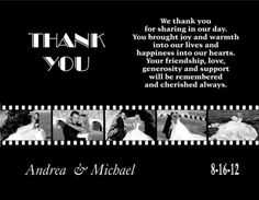 Movie Themed Wedding Thank You Cards. This would be perfect since my wedding is at a historic theatre