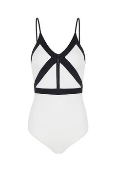 the giving - low cut-out v back, one piece bikini with black detailing & zip at front.